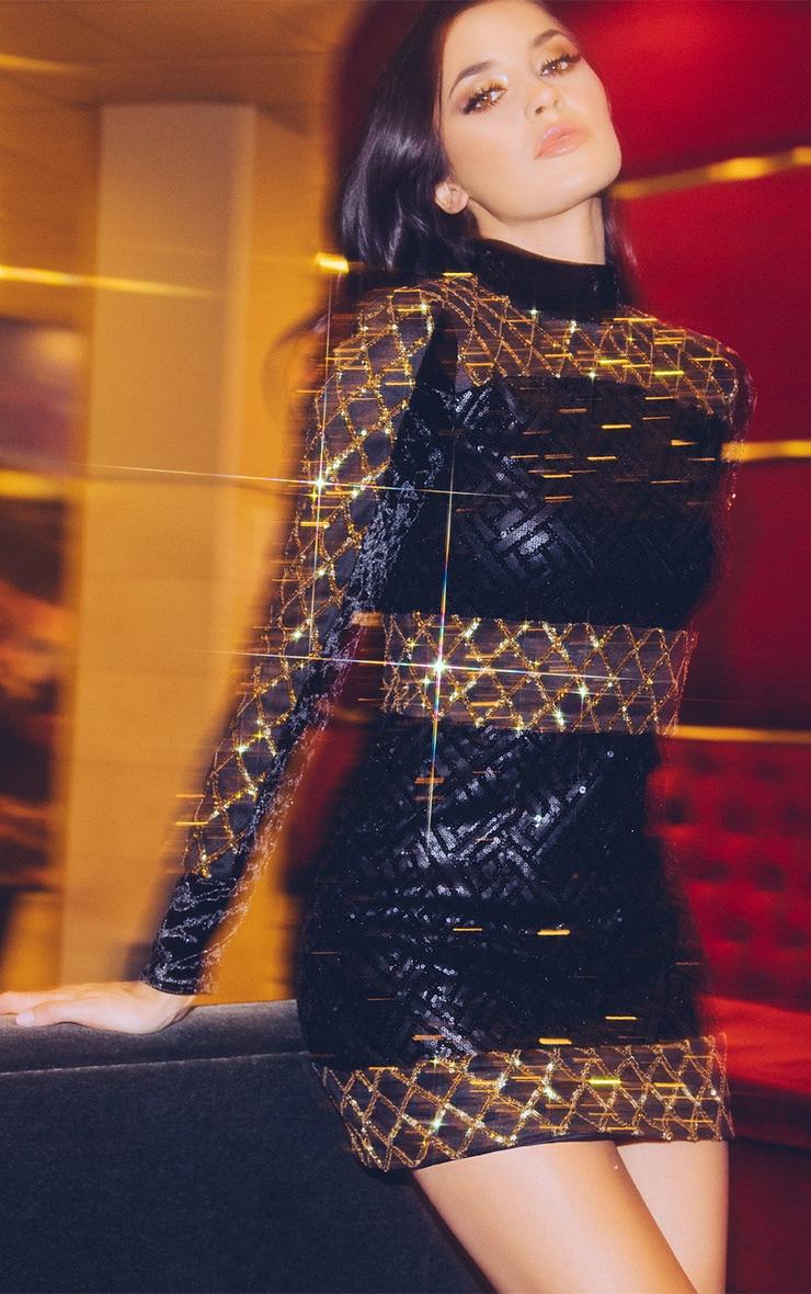 Loriah Black Premium Contrast Sequin Bodycon Dress 1