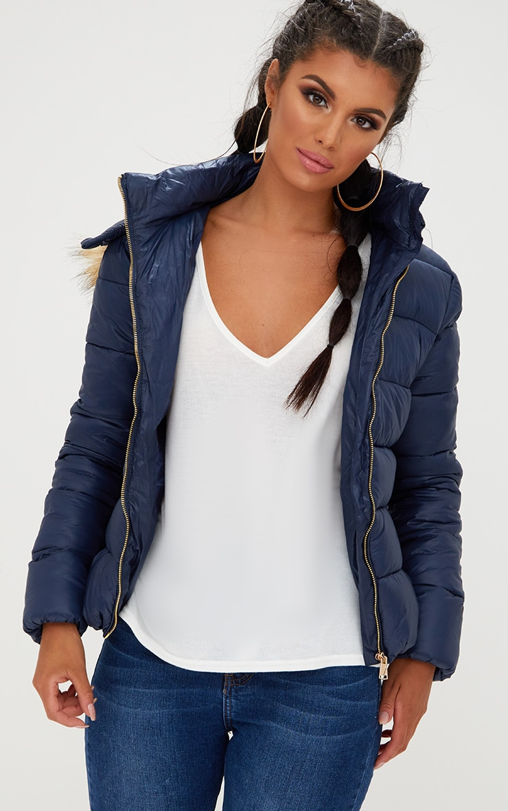 Navy Puffer Jacket with Faux Fur Hood 1