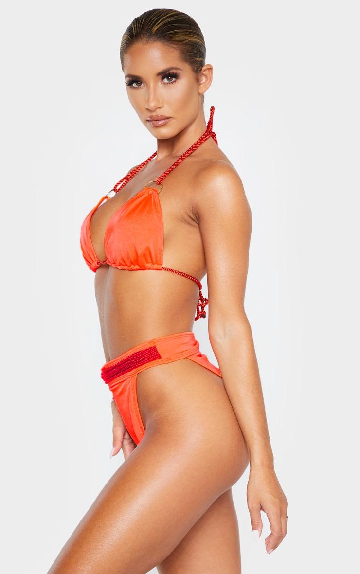 Coral Strappy Rope Bikini Bottom 2