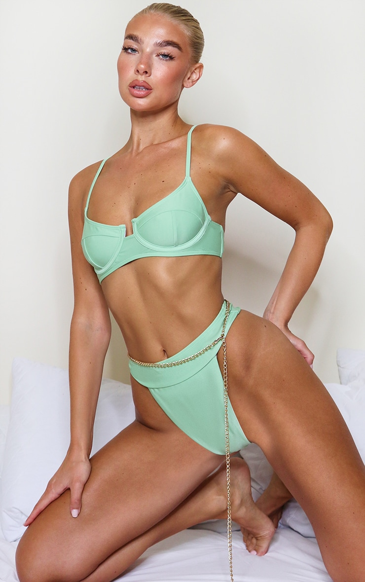 Sage Green Mix & Match High Leg Bikini Bottoms 4