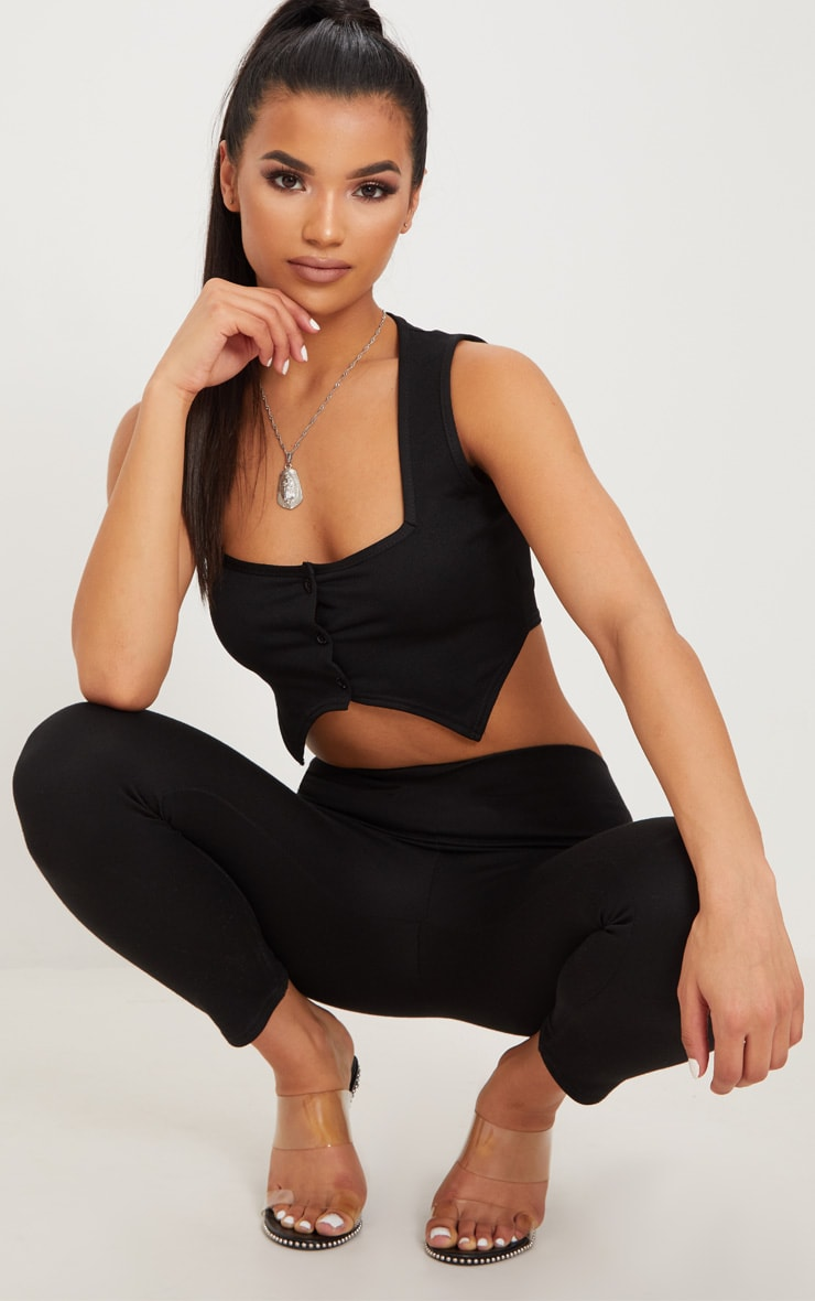 Black Crepe Button Front Point Hem Crop Top 1