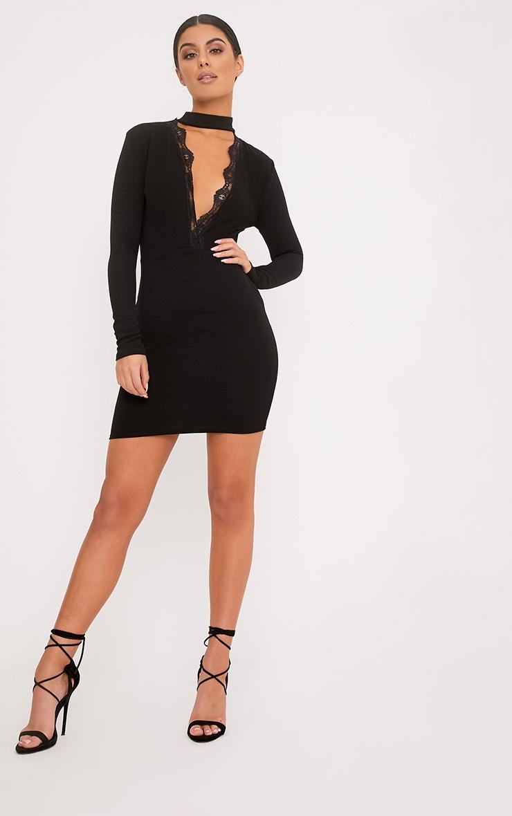 Gia Black Lace Trim Choker Neck Bodycon Dress 4