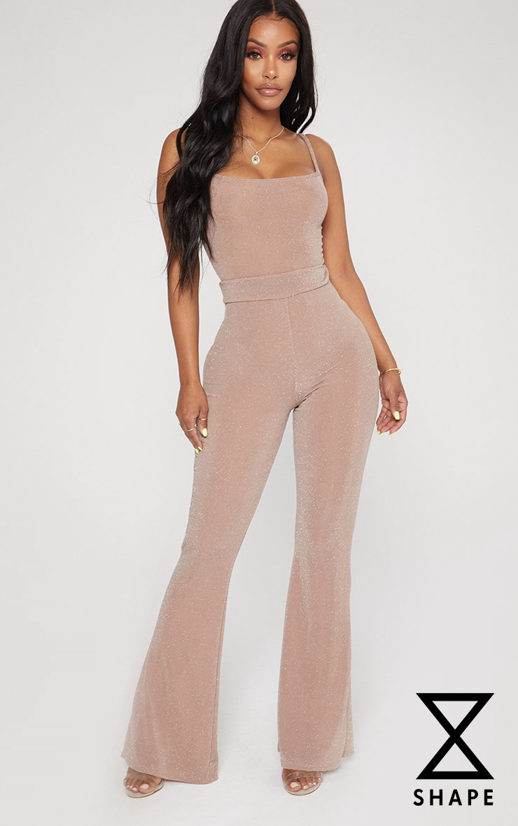 Shape Mauve Glitter Lurex Wide Leg Trousers 1