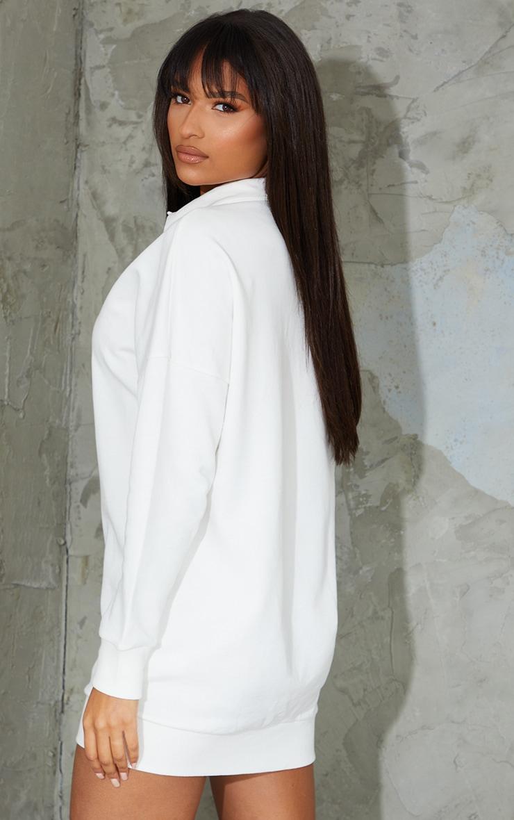Ecru Polo Collar Detail Button Up Jumper Dress 2