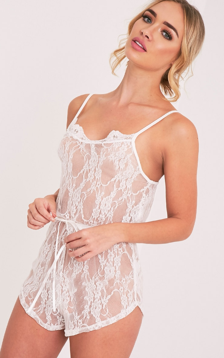 Sanny White Lace Teddy Nightsuit 2