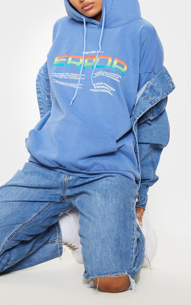 Washed Blue Error Slogan Oversized Hoodie 5
