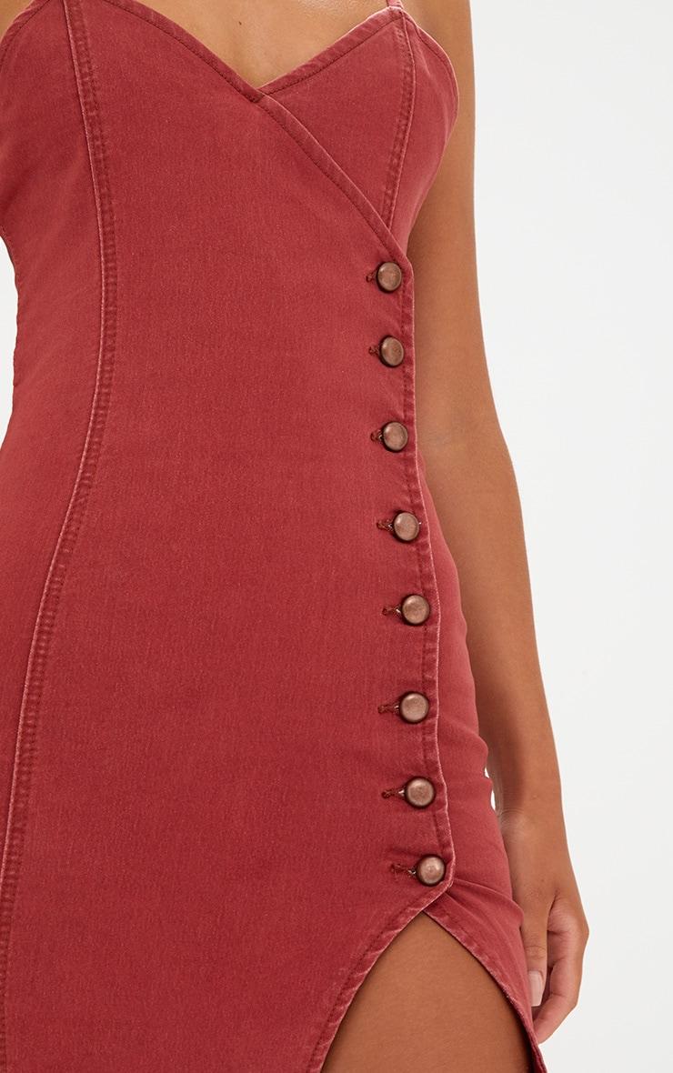 Dark Red Button Detail Bodycon Denim Dress 5