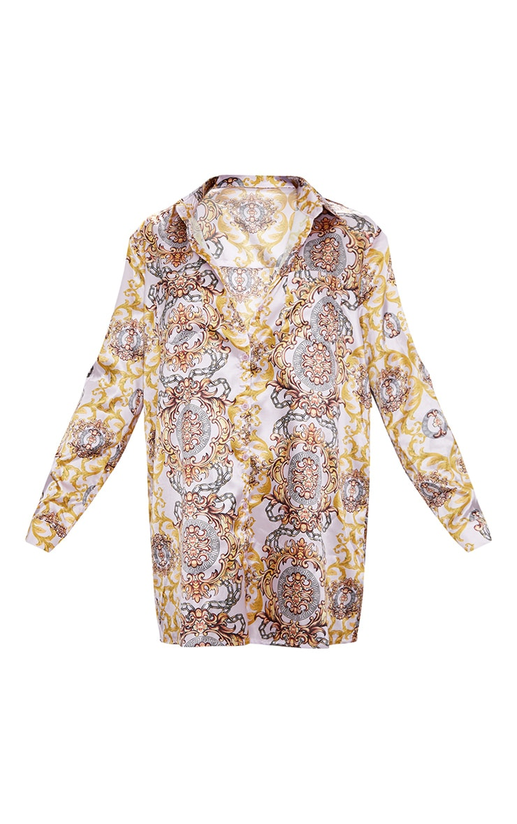 Pink  Chain Print Shirt Dress 3