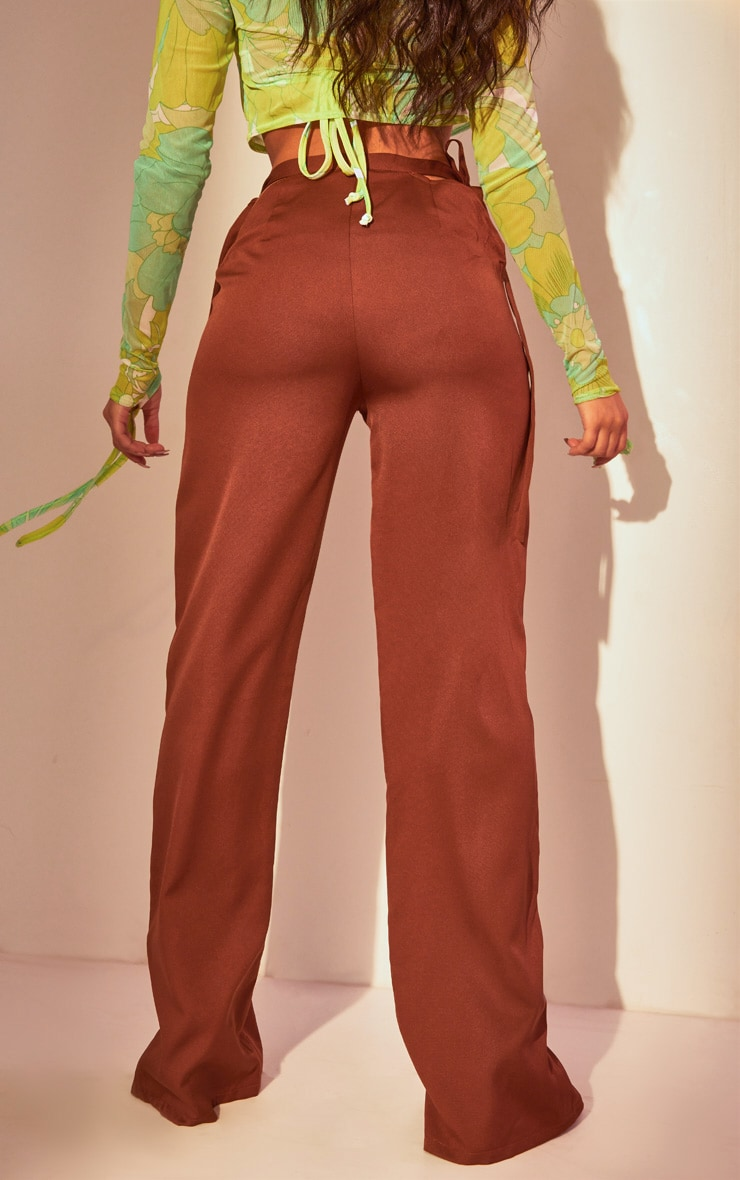 Chocolate Cut Out Waist Tailored Pants 3