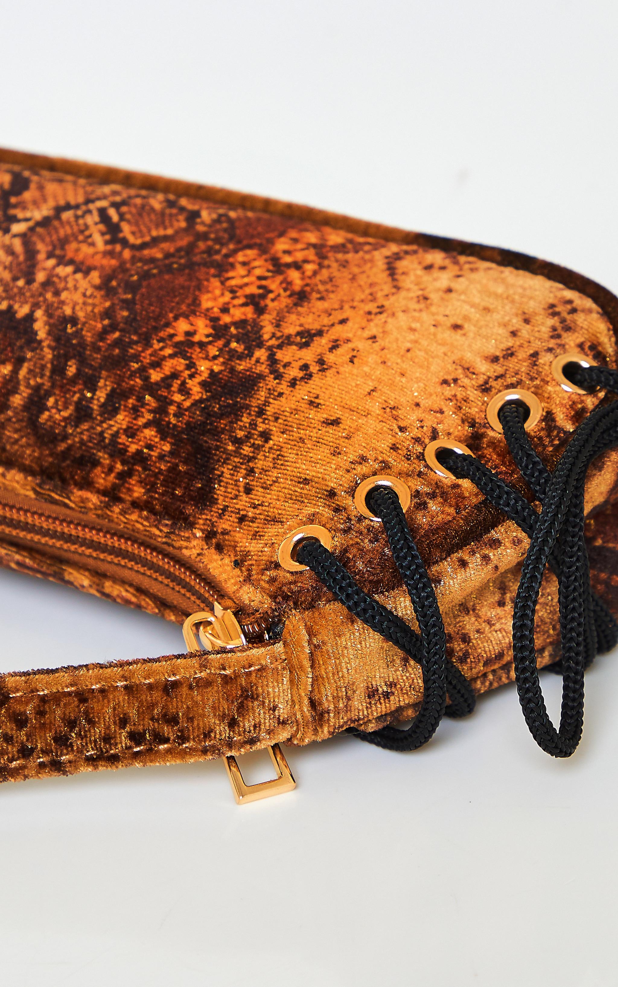 Gold Velvet Snake Lace Up Shoulder Bag 3