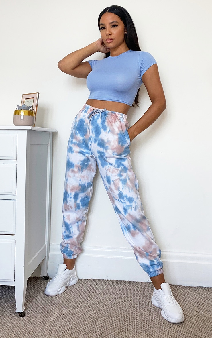 Dusty Blue Acid Wash Casual Joggers 1