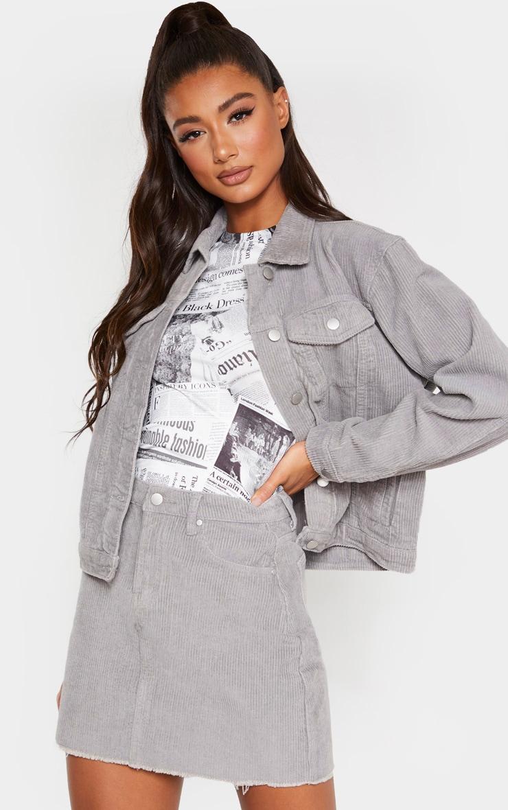 Light Grey Cord Mini Skirt 1