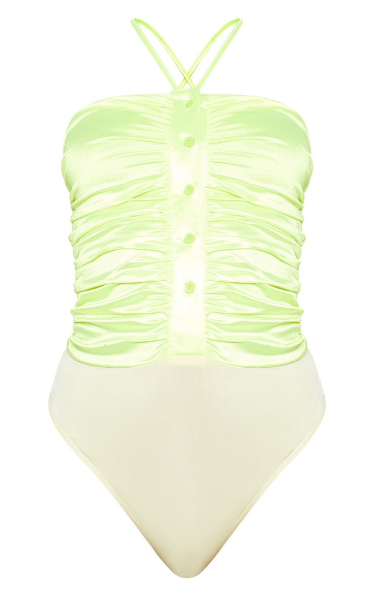Neon Lime Satin Ruched Button Front Sleeveless Bodysuit 3