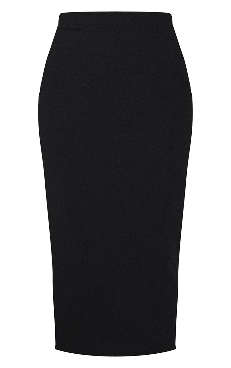 Black Basic Cotton Blend Jersey Midaxi Skirt 5
