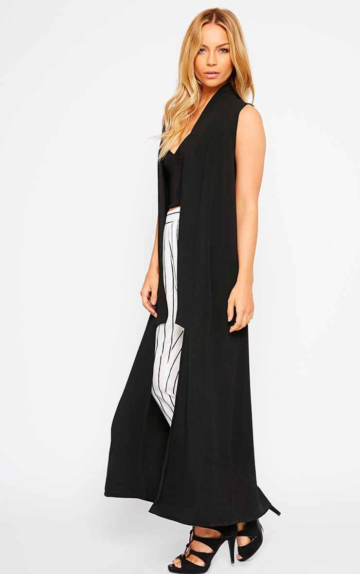 Georgena Black Sleeveless Duster Coat 4
