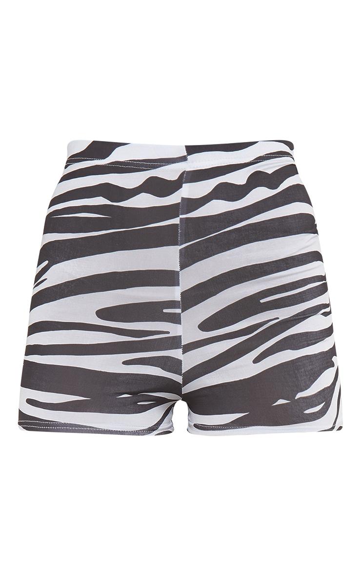 Black Zebra Printed Slinky Hot Pants 6