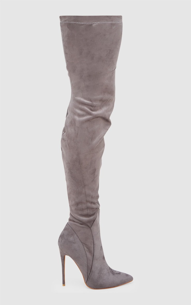 Grey Faux Suede Thigh High Heeled Boots 3