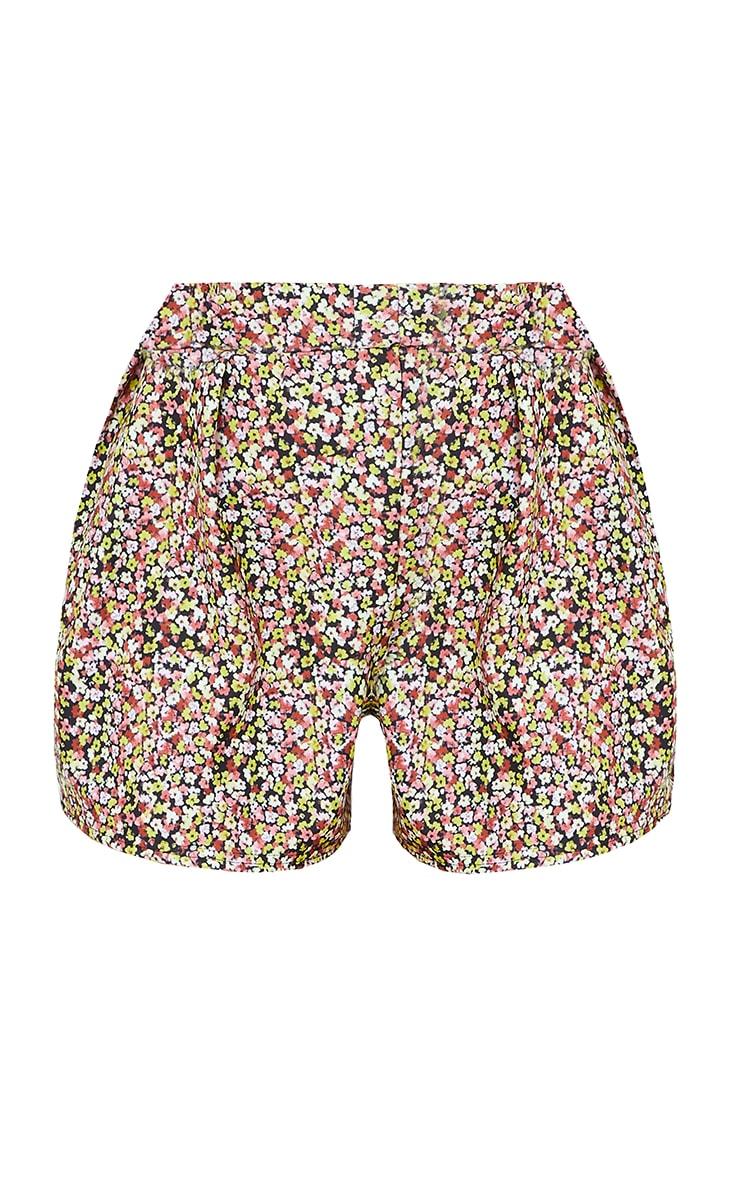 Black Ditsy Print Floaty Shorts 6