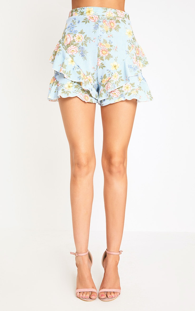 Light Blue Floral Stripe Frill Hem Shorts 2