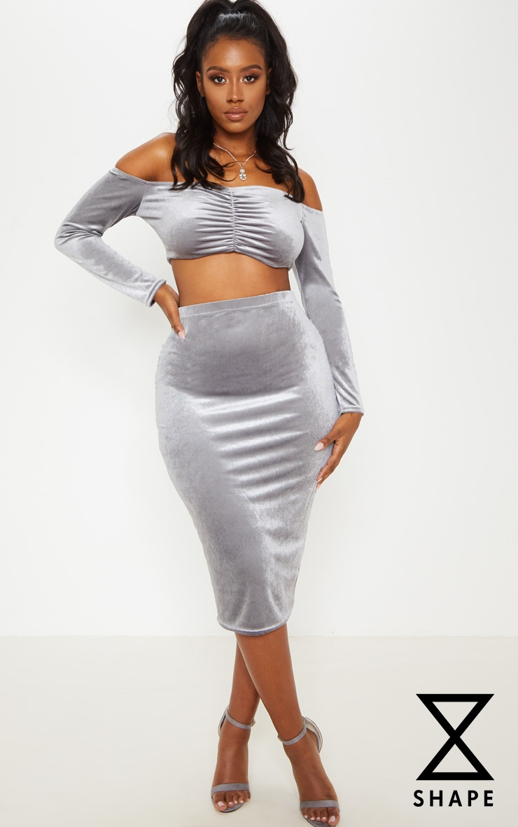 Shape Silver Velvet Ruched Front Bardot Crop Top