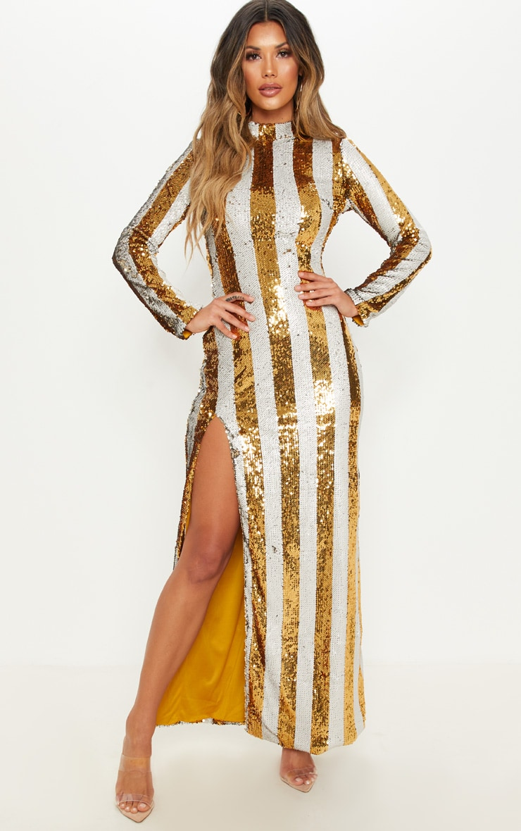 Gold Stripe Sequin Backless Maxi Dress