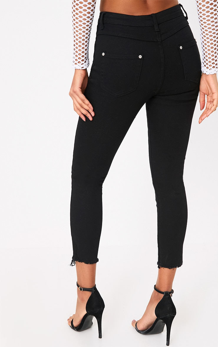 Black Split Hem Detail Skinny Jean 4