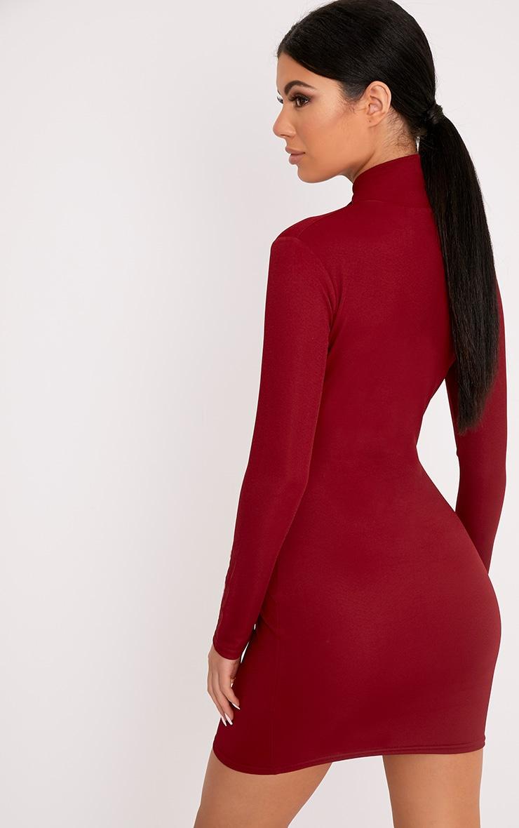 Maryana Burgundy Plunge Choker Neck Bodycon Dress 2