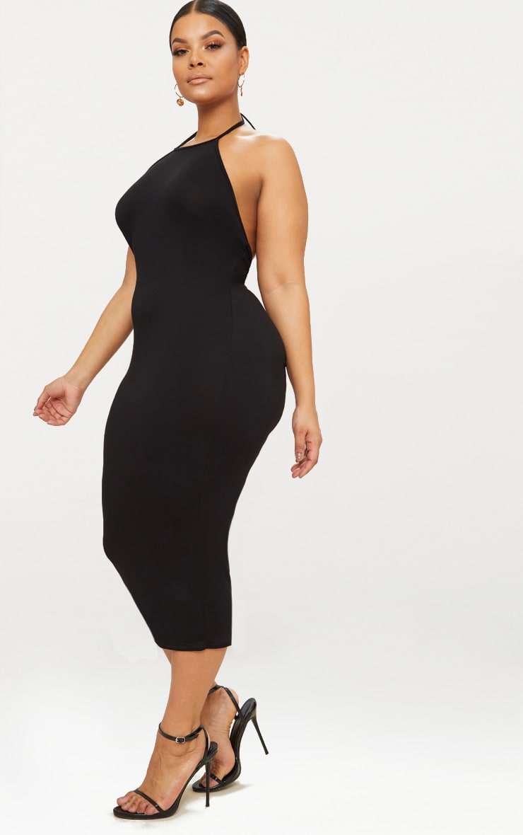 Plus Black Halterneck Midi Dress 4