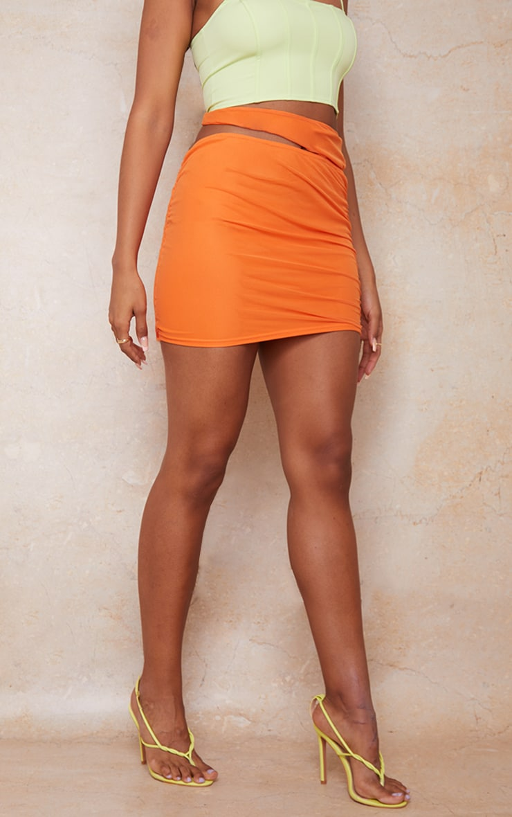 Orange Tie Side Cut Out Ruched Mini Skirt 2