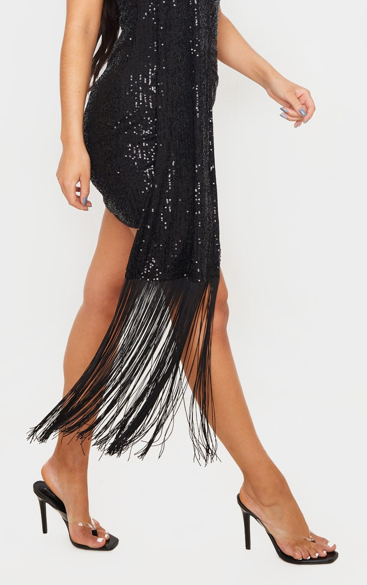Black Sequin Halterneck Tassel Drape Bodycon Dress 5