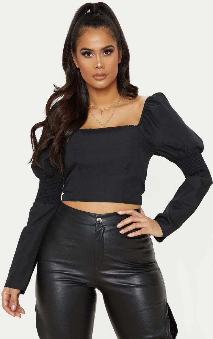 Black Shirred Sleeve Crop Top 1