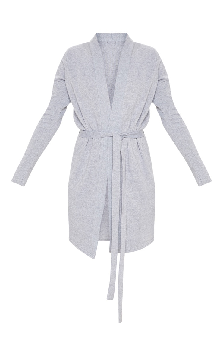 Grey Fleece Lined Dressing Gown 3
