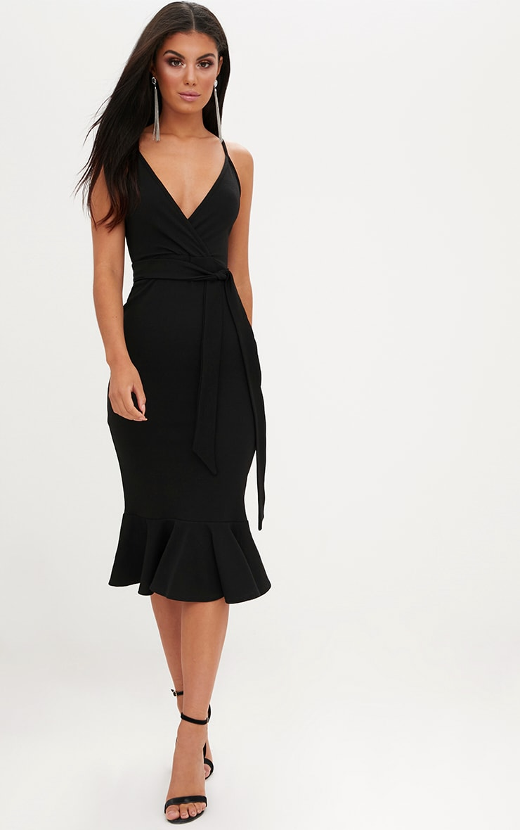 Black Strappy Tie Waist Fishtail Midi Dress 2