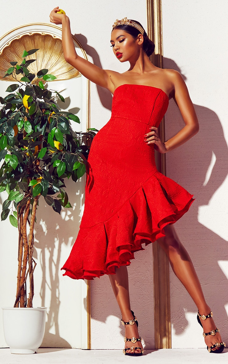 Red Jacquard Bandeau Asymmetric Frill Hem Midi Dress