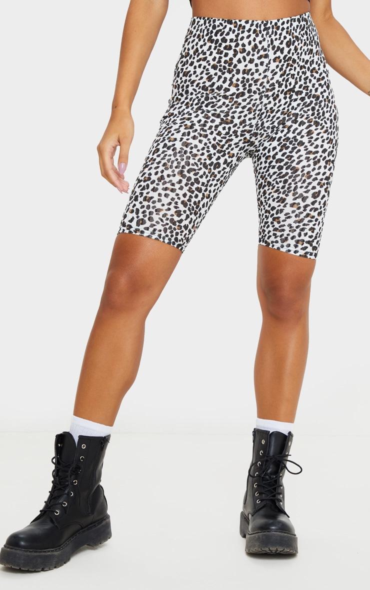 Black Leopard Print Rib Bike Short 2