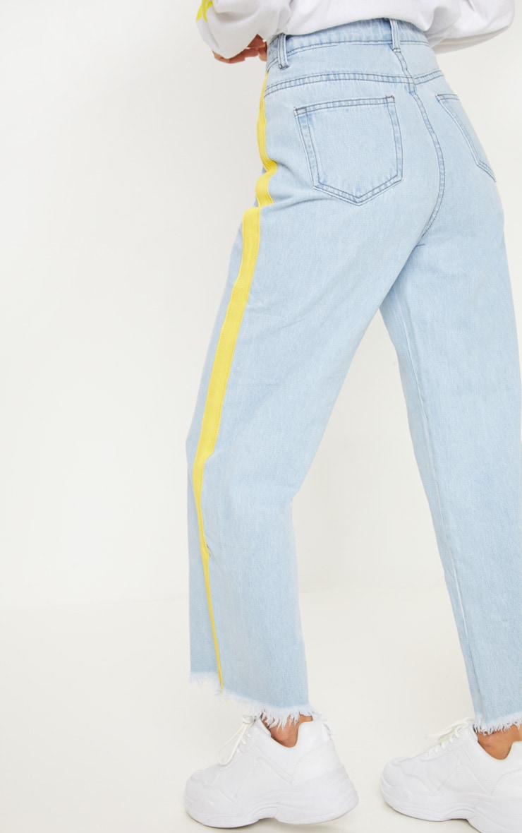 Light Wash Yellow Side Stripe Crop Jean  4
