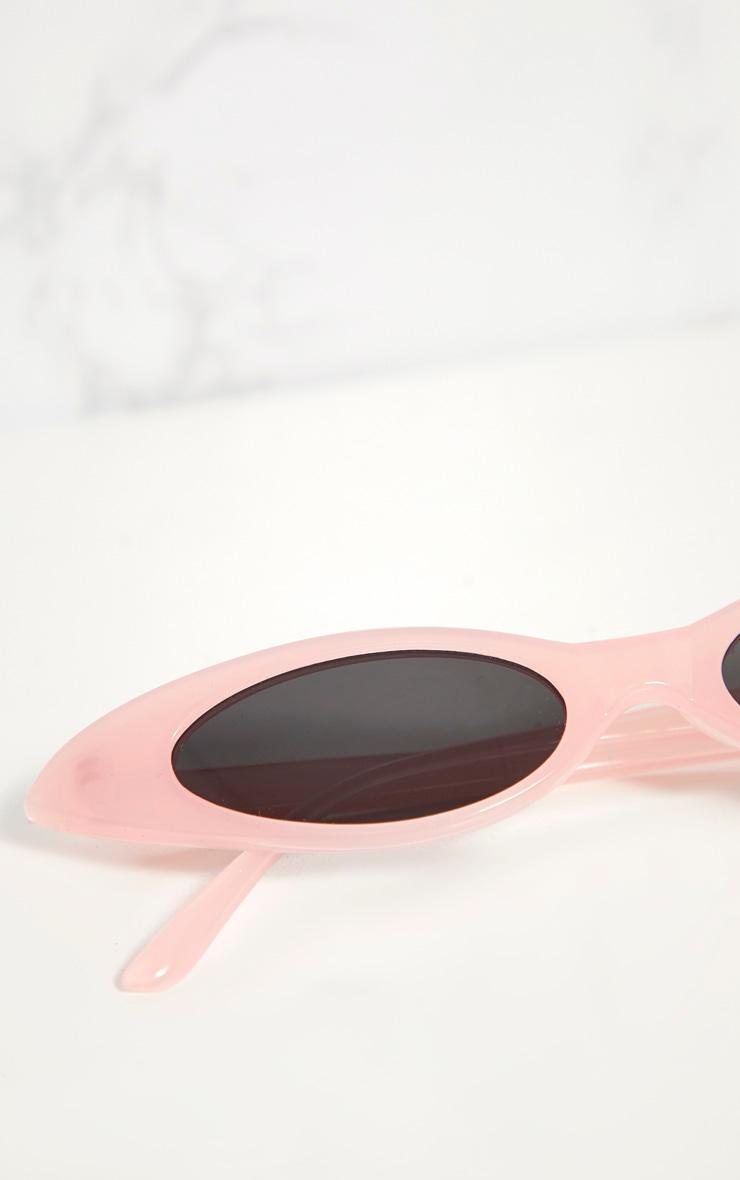 Pink Acrylic Matte Thin Retro Sunglasses 4