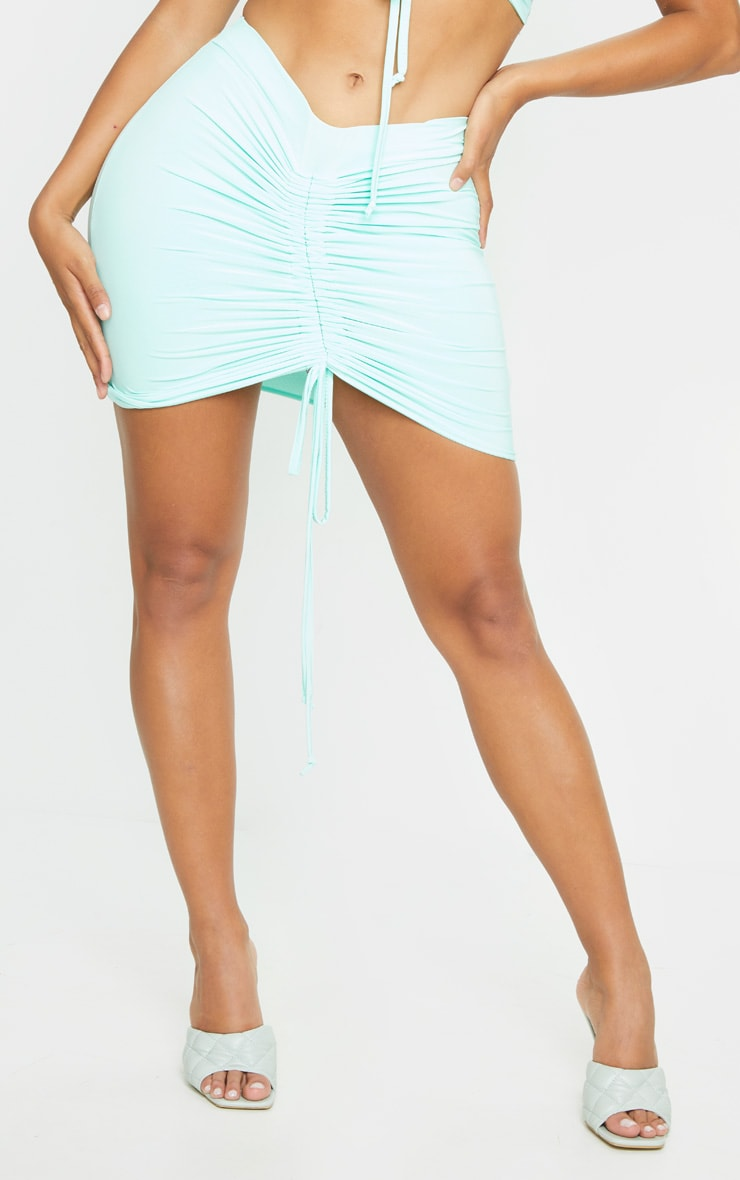 Shape Mint Slinky Ruched Front Bodycon Skirt 2