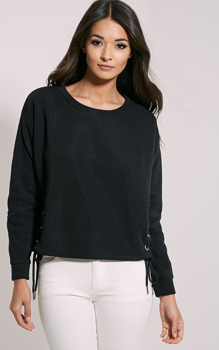 Kiera Black Lace Up Side Sweatshirt 4