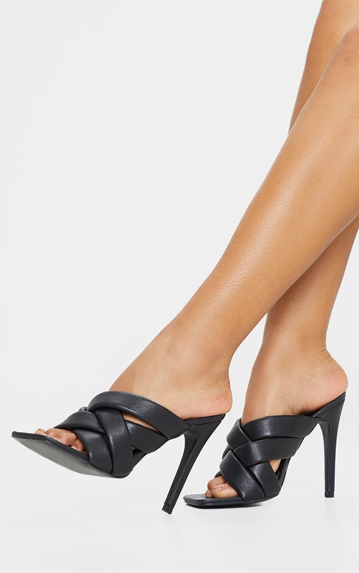 Black Quilted Woven Strap High Mule Heels 2