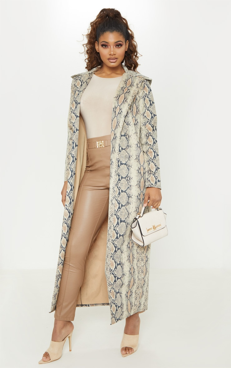 Tall Taupe Faux Suede Snake Print Longline Coat 3