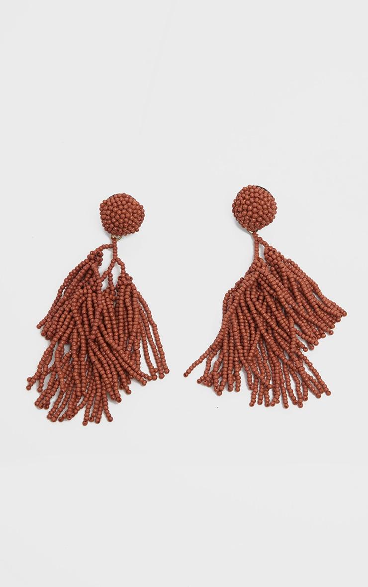 Orange Irregular Beaded Tassel Earrings 2