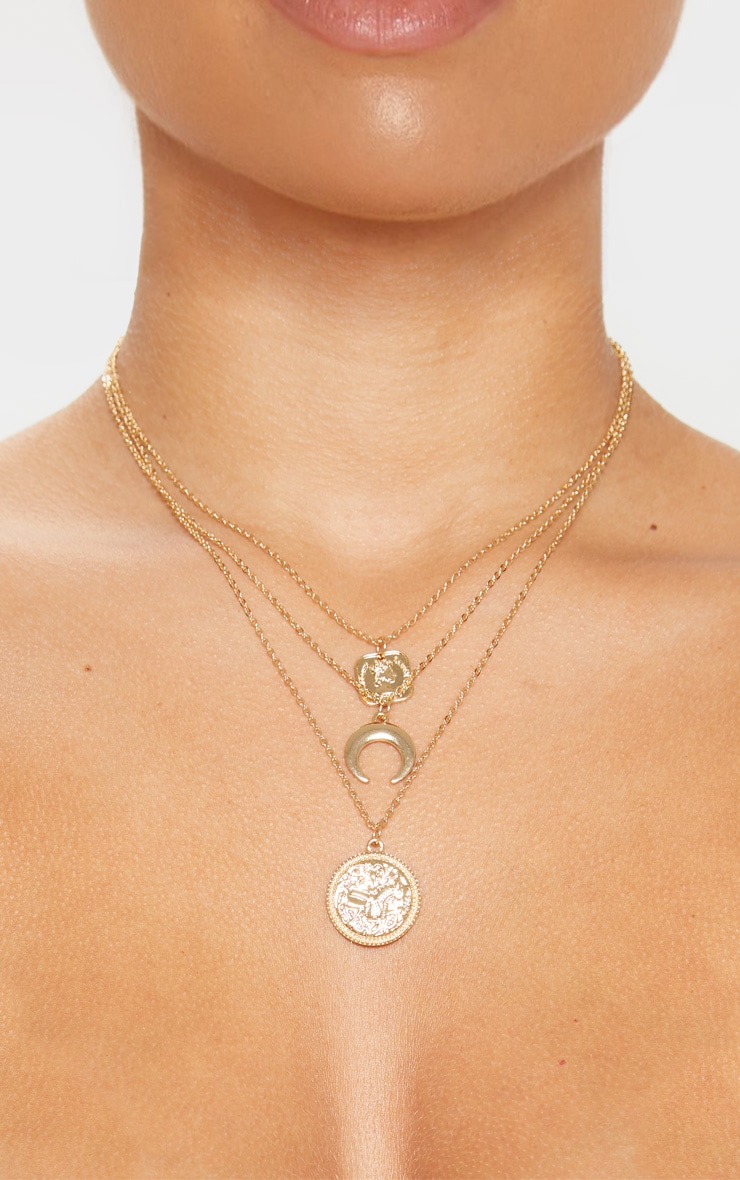Gold Coin Bull Horn Triple Layer Necklace 2