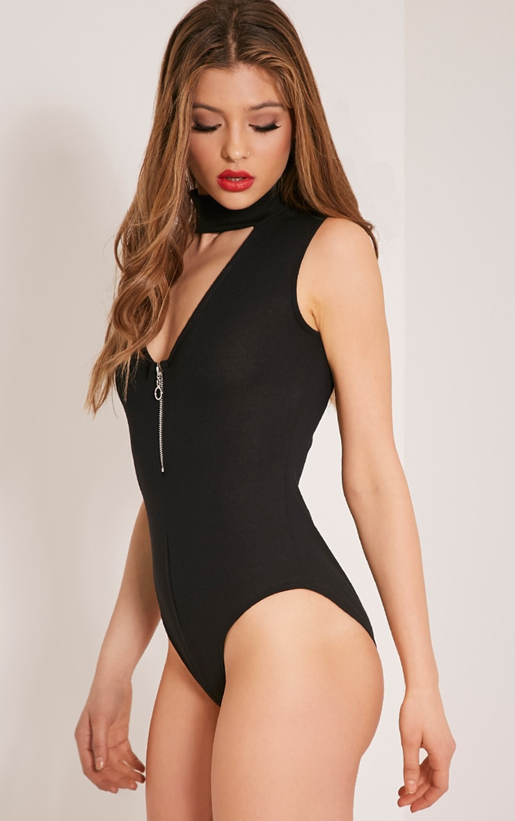 Emelli Black Circle Zipper Bodysuit 2