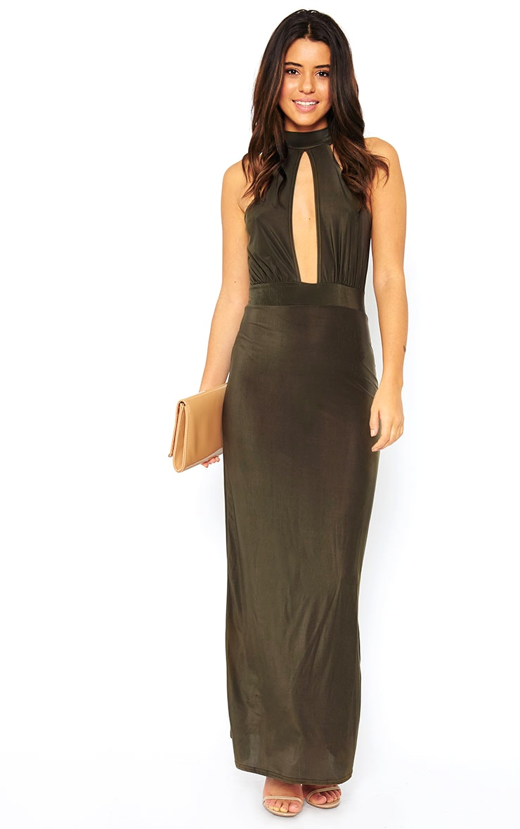 Desiree Khaki Slit Front Maxi 1
