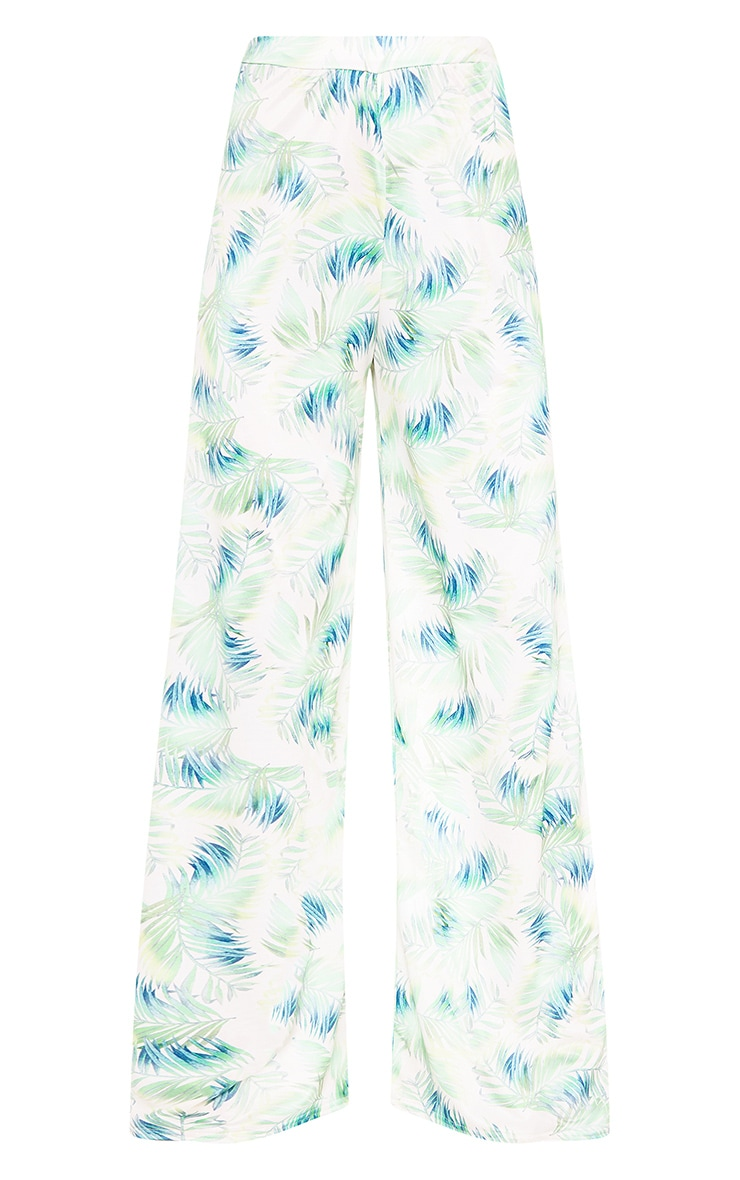 White Tropical Leaf Print Slinky Wide Leg Trousers 3