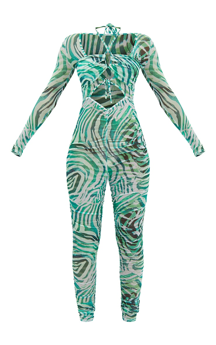 Green Abstract Print Mesh Tie Detail Jumpsuit 5