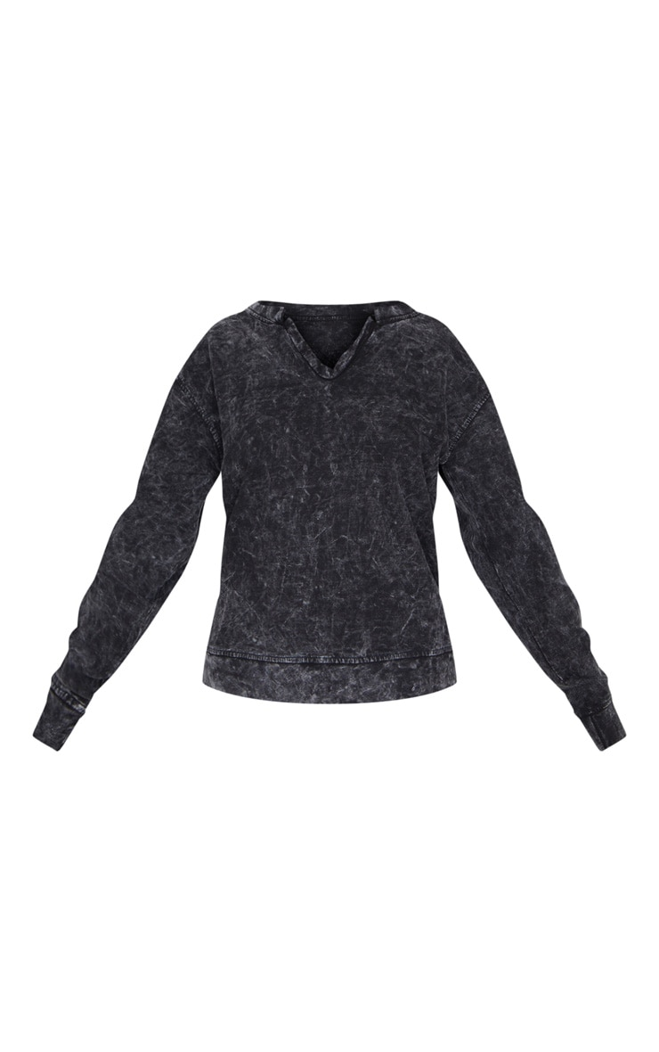 Black V Neck Long Sleeve Washed Sweater 5