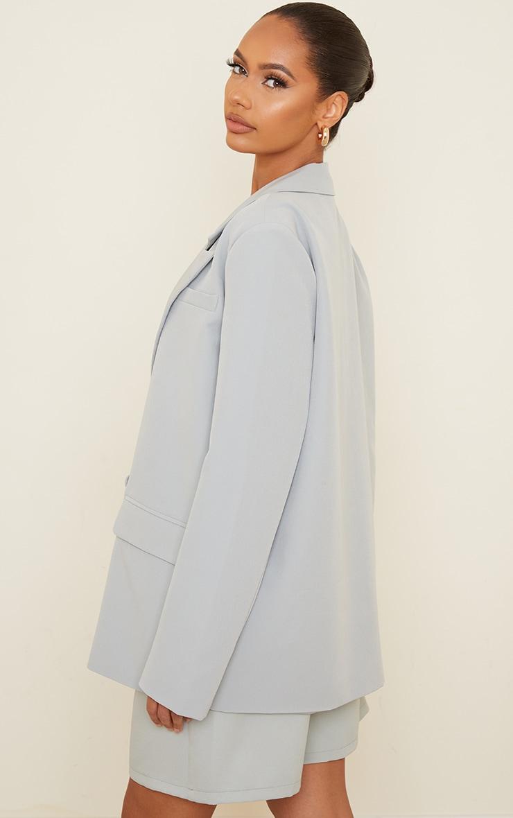 Light Grey Woven Extreme Shoulder Padded Oversized Blazer 2