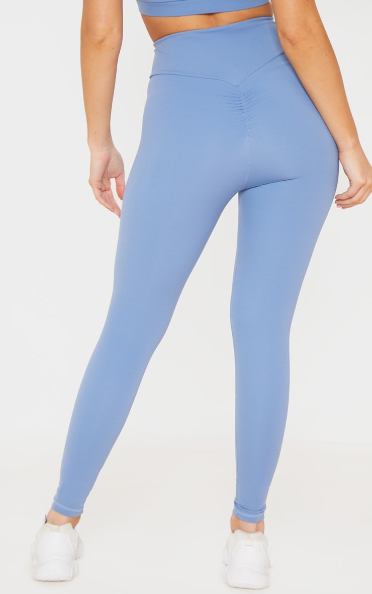 Dusky Blue Cross Waist Ruched Bum Gym Legging 3